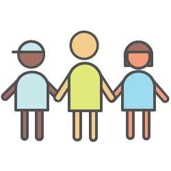 Children and young people icon (three children holding hands)