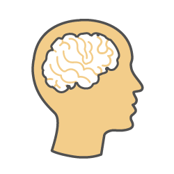 Learning disabilities icon (picture of a head, with a visible brain)