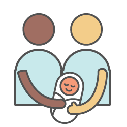 Maternity icon (couple holding a baby)