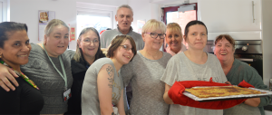 Michelle Carroll, with friends at the time bank's cooking club
