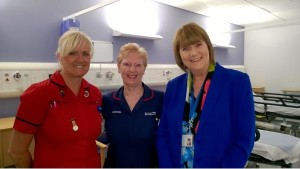 Pictured - Stockport NHS Foundation Trust Chief Executive Ann Barnes (right) joins nursing colleagues Fran Marshall and Sharon Haley at the opening.