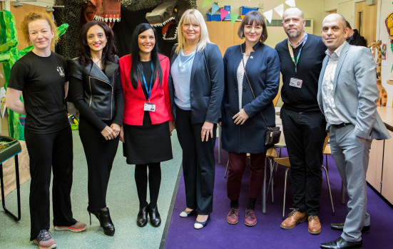 Partners representing the pilot l-r: Rachael Mackenzie (Youth Sport Trust), Dr Sandeep Ranote (GMHSCP), Lisa Fathers (Alliance for Learning), Debbie Simmons (Place2Be), Simone Spray (42nd Street), Christ Wright (Youth Sport Trust) and Zulfi Jiva (GMHSCP)
