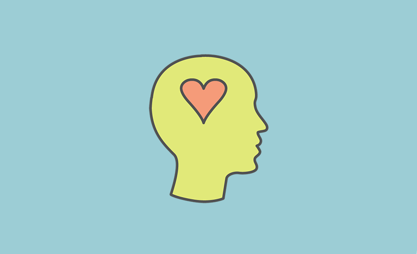 Mental health icon (a head with a heart in the centre)