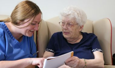 Kirsty Holmes with Eileen Ogden at Urmston Manor Residential Home