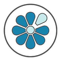 Dementia icon (stylised blue petals)