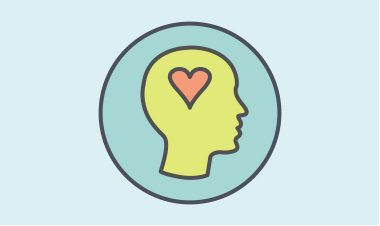 Mental Health icon (picture of a head with a heart in the centre)