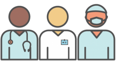 Drawing of three clinicians