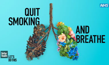 """Quite smoking and breath"" - image show plants in the shape of lungs"