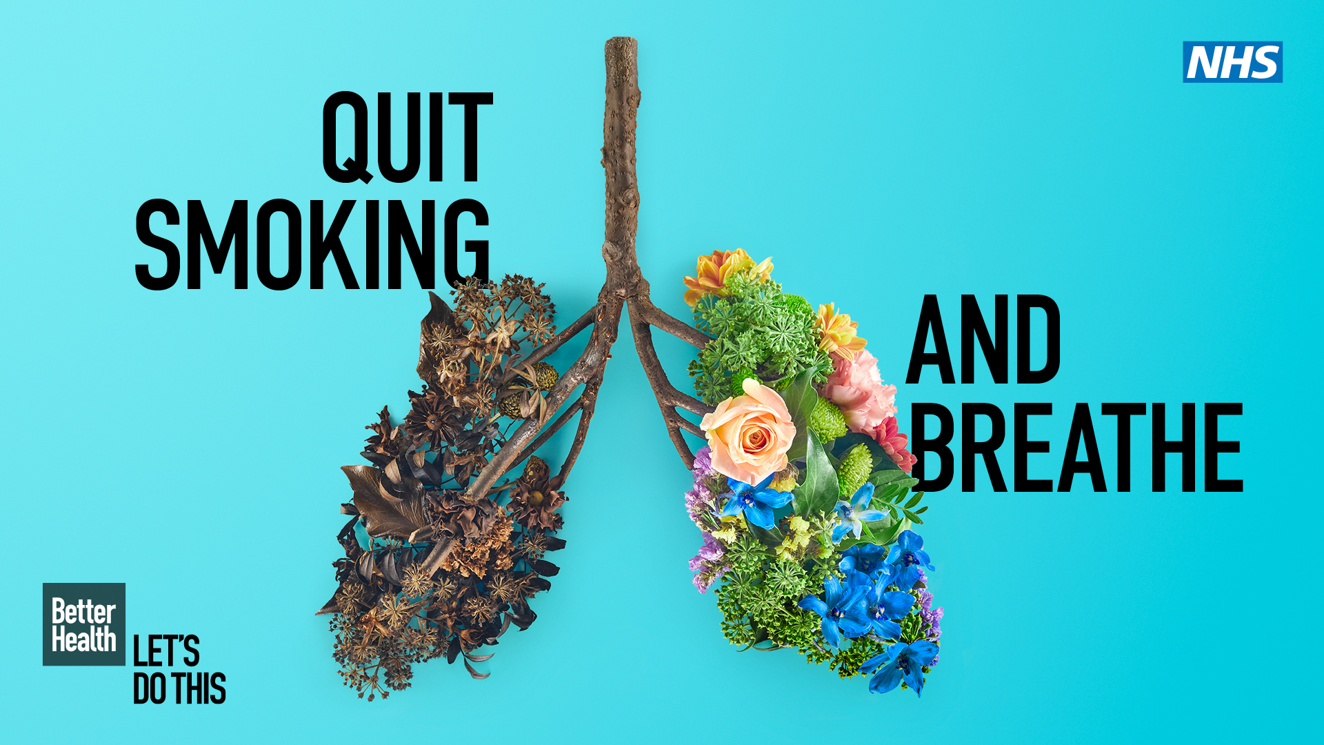 """""""Quite smoking and breath"""" - image show plants in the shape of lungs"""
