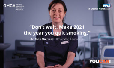"""Don't wait. Make 2021 the year you quit smoking"". Dr Ruth Sharrock, respiratory consultant"