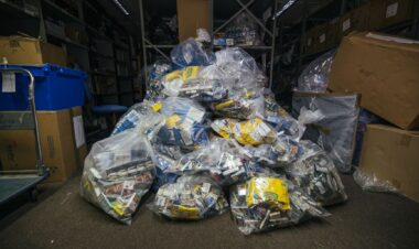 llegal tobacco bagged up