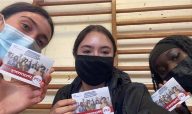 Friends Violet Hayes, Leigh Hodgson and Giye Justin, all 16, were among hundreds of 16 and 17 year olds opting to have their first Covid-19 vaccinations at Whalley Range High School last week.